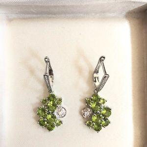 925 silver Peridot earrings